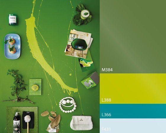 В зеленом оазисе живет радость. Фон: краска Ремонтти-Ясся, цвет М384, брызги – краска Ремонтти-Ясся, цвет L388