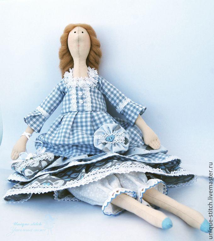 Купить Тильда Бекки. Текстильная кукла - голубой, серый, кукла интерьерная, кукла Тильда