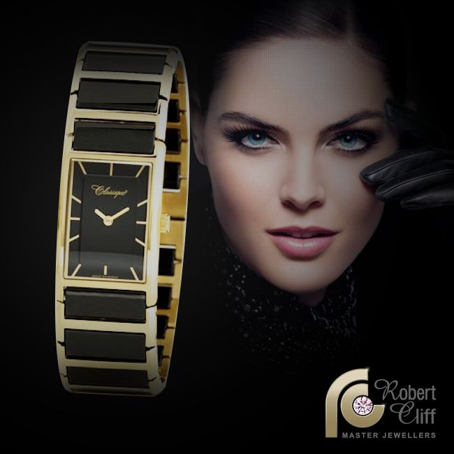 Ladies rose & stainless steel bracelet  #Classique watch with black ceramic quartz face, $295. Available from us now! #ladieswatch #gold #watch #accessory #black #beautiful #promo #sale #ladies #fashion #trend #watchlover #jewellery #bracelet #stainless