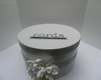 Navy Blue Coral Wedding Card Box Silver Bling by SweetJonesin