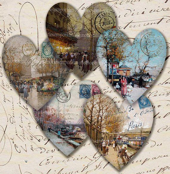 I Love Paris Antique Hearts Decoupage Vintage Street Scenes Postage Stamps Printable Digital Collage Sheet Instant Download 207 on Etsy, $4.40