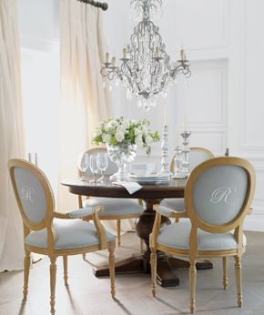 ethan allen.  Love monograms but do chairs in SUNBRELLA ( for ease of cleaning).  Taking Monogramming to next level
