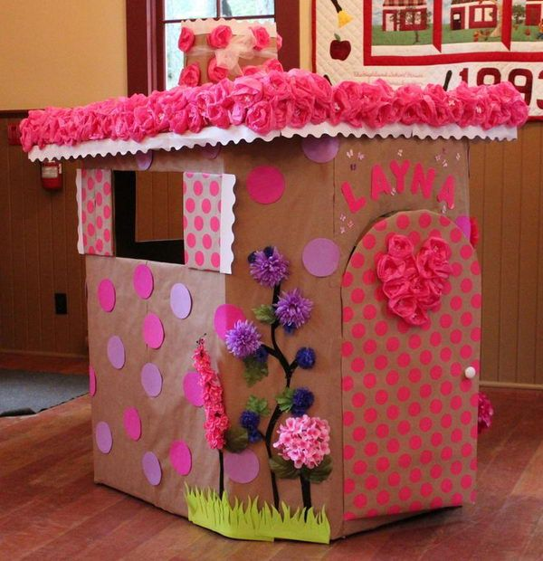25 best ideas about cardboard playhouse on pinterest for Homemade playhouse ideas
