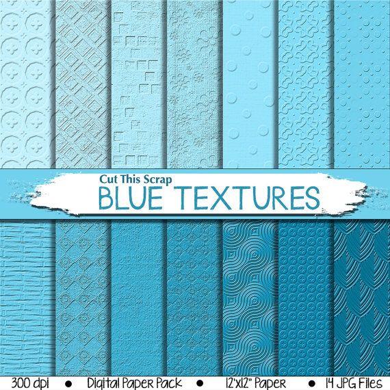 Blue Textured Digital Paper: Blue Scrapbook Paper by CutThisScrap