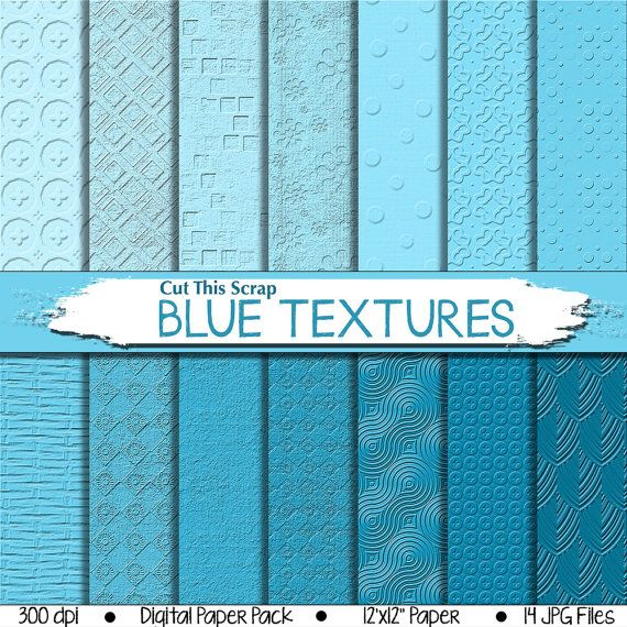 Blue Textured Digital Paper: Blue Scrapbook Paper by CutThisScrap