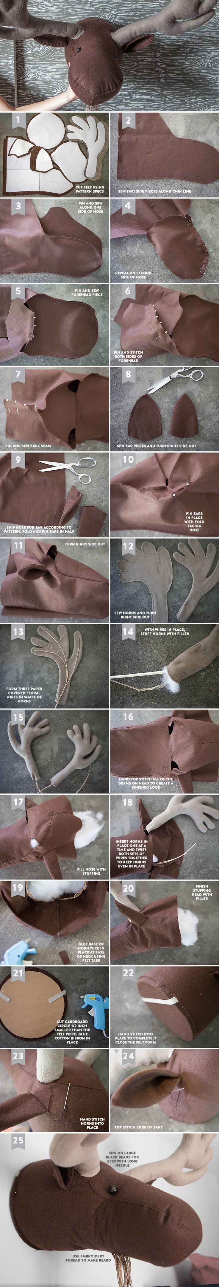 DIY Felt Moose Head. Template and tutorial | liagriffith http://liagriffith.com/diy-felt-moose-head/