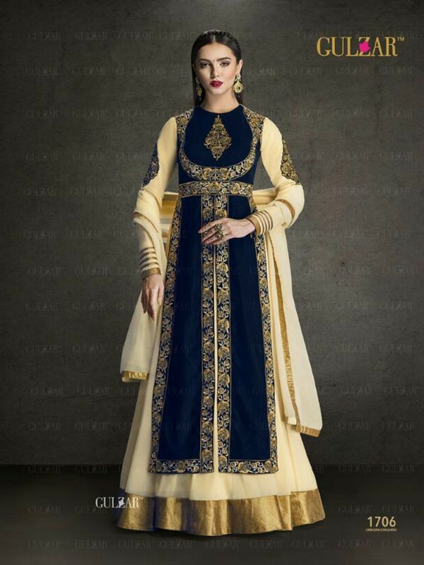 Navy Blue Indowestern Anarkali Suit Online 100% Original High-Quality Fabric Product. No Replica! Shop-http://bit.ly/2eAWaho #anarkalisuit