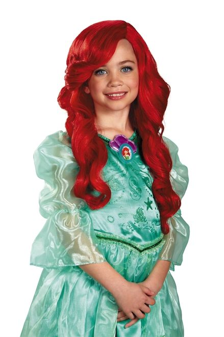 Ariel the Little Mermaid Wig - You'll wish you were under the sea, yeah under the sea in this Disney Princess Ariel the Little Mermaid Wig. The mermaid wig is a slightly smaller hair net, made for kids, with long flowing red hair that flows down to the chest. A slight wave bang make this wig look more realistic.  #disney #princess #littlemermaid #yyc #costume #wig #kids