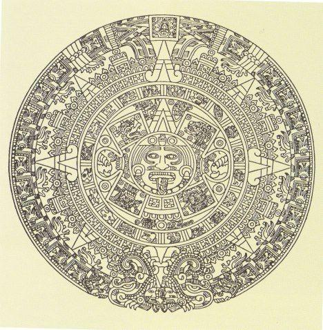 Piedra del Sol, dibujo b y n