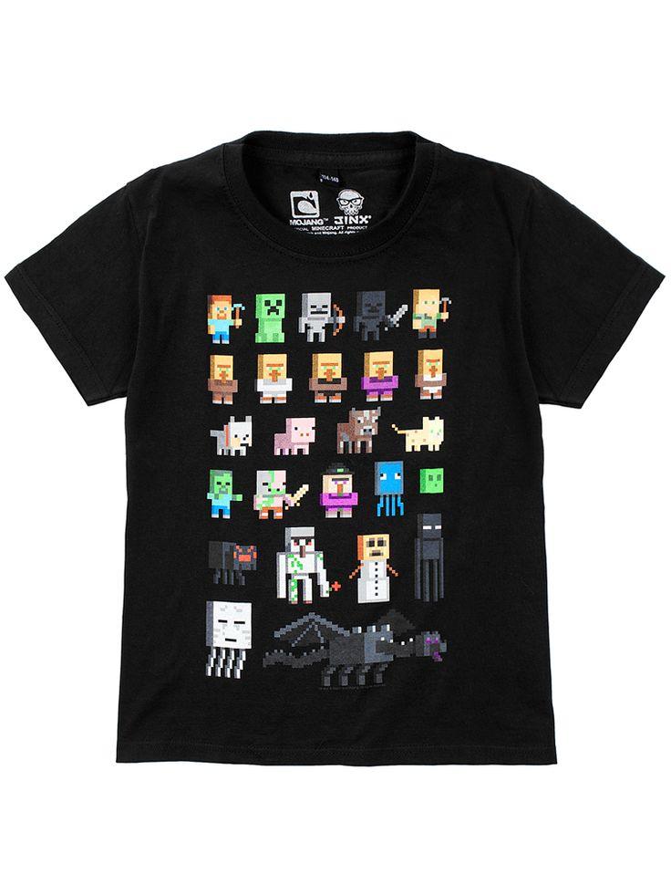 Lyhythihainen t-paita, jossa edessä Minecraft-painatus. Pyöreä kaula-aukko ja hihansuissa joustinneulosta.