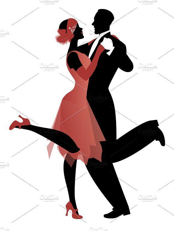Elegant couple dancing Charleston-3 by La Inspiratriz on @creativemarket