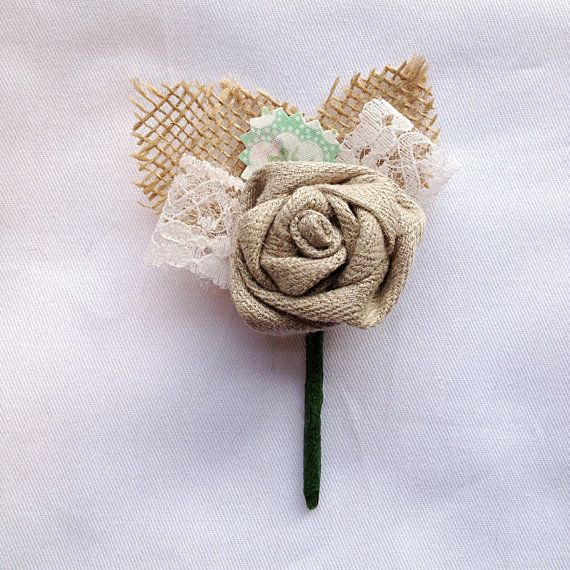 Rustic Country Style Wedding Buttonhole / Boutonniere with a Natural Handmade Fabric Hessian/Burlap Rose Flower