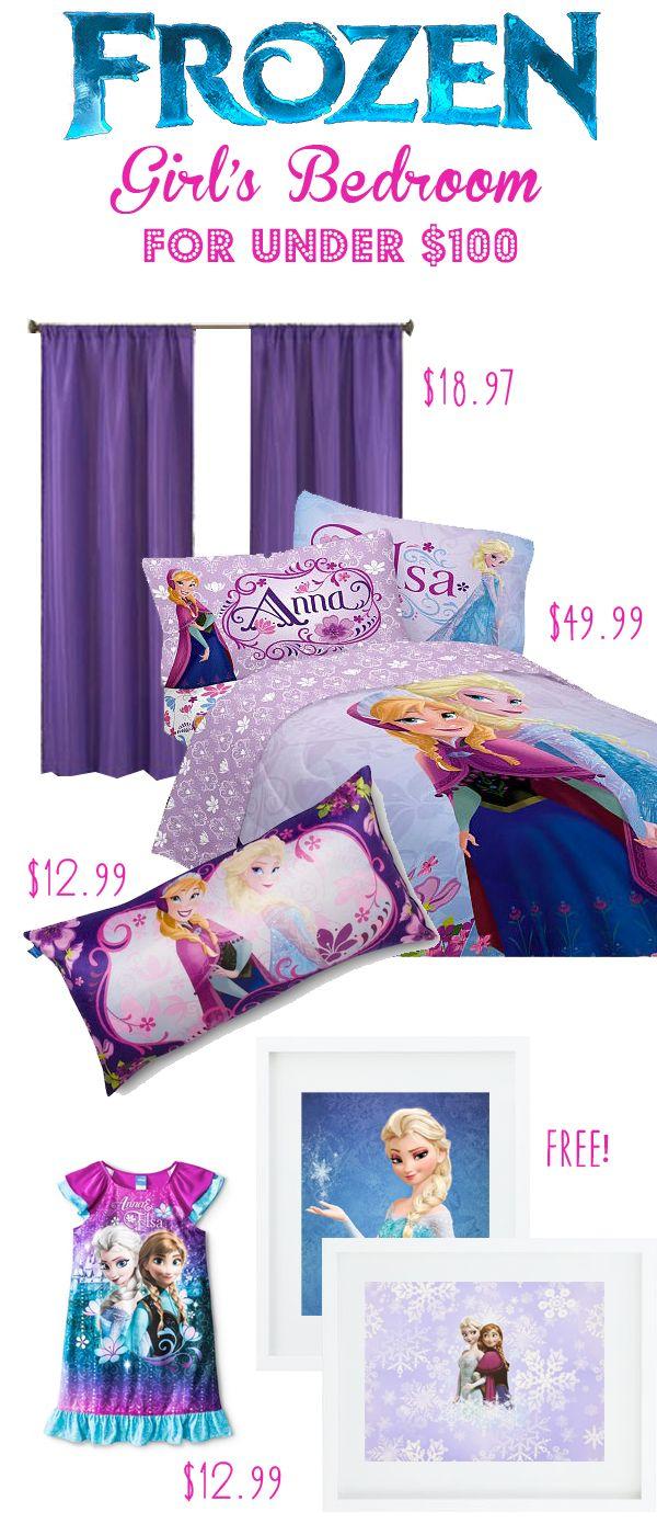 Frozen Bedroom for under $100 including comforter!