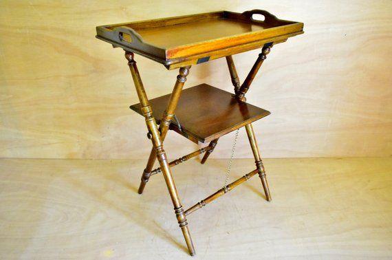 2-storey vintage wooden tray