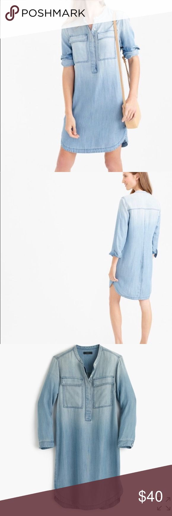 J. Crew Drapey Chambray Shirt Dress J. Crew drapey Chambray shirt dress. Straight silhouette. Super soft. Finished shirttail hem. Faded wash. Button closure. Hem in back is a little pulled, see last picture. J. Crew Dresses