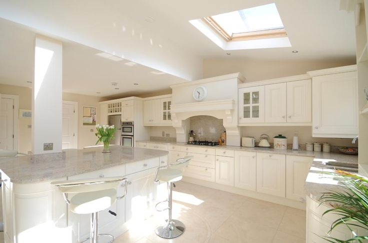 Kitchen: Ivory Painted With Kashmir White Granite by Tierney Kitchens ...