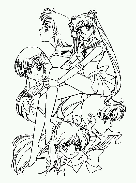 sailor venus coloring pages - sailor senshi sailor mercury sailor moon sailor mars