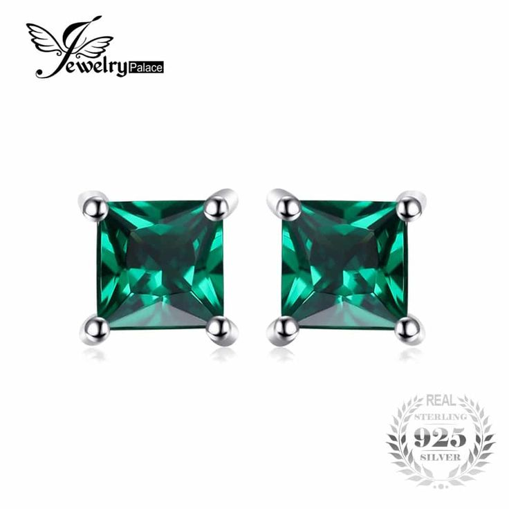 Palace Square Emerald 925 Sterling Silver Fine Studded Earrings //Price: $10.95 & FREE Shipping //     #stylish