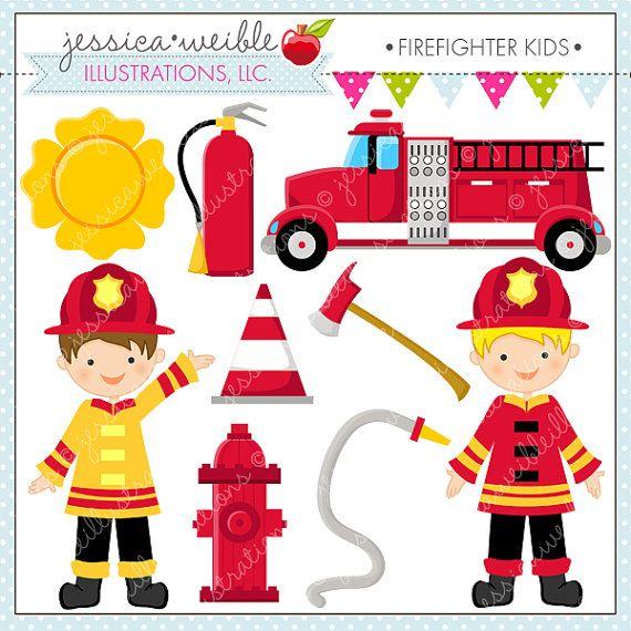 Firefighter Kids Cute Digital Clipart - Commercial Use OK - Firefighter Clipart, Firefighter Graphics, Fire Truck