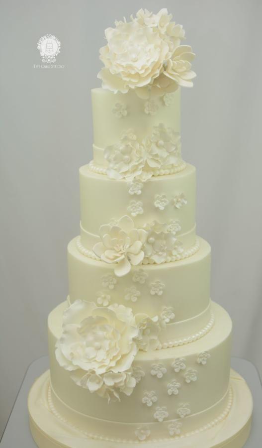 White Wedding Cake with White  Sugar Flowers - Cake by Sugarpixy
