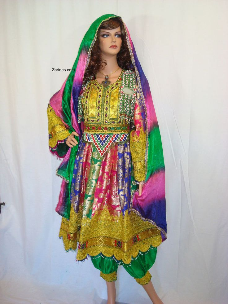 Gulpari Formal Dress.  Gulpari is a gorgeous fancy formal Afghan dress. You can use this beautiful dress for any special occasion and look stunning. Gulpari comes with green pants and a multicolor chador (head scarf). Please note: Necklace sold separately.  Size: Small to Large