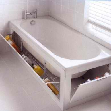 bathtub with storage.. could easily make it look a little nicer like cupboards or draws