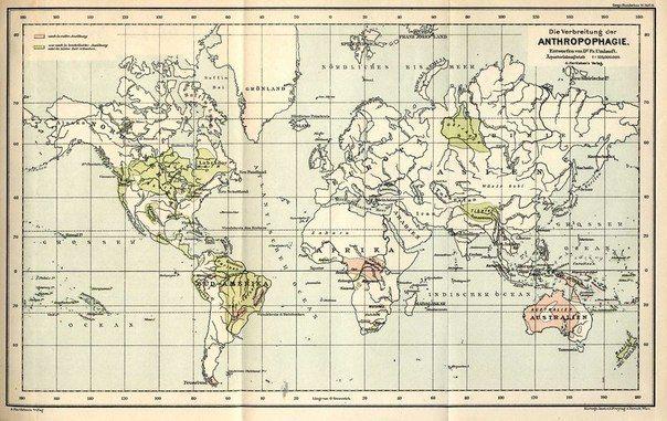 Карта распространения каннибализма, изданная в Германии в 1893 году. Розовым цветом выделены области, где в это время каннибализм еще практиковался, зеленым — территории, на которых эта практика была ограничена или исчезла самостоятельно.