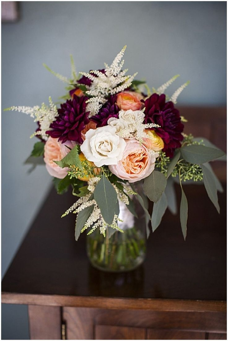 burgundy, white and peach bouquet // Photography: Katie Keighin Photography • Flowers: Sugar n' Stems