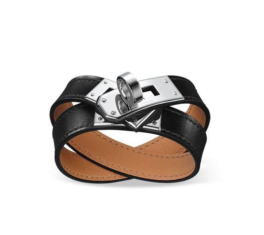 "Hermes leather bracelet Box calfskin  Palladium plated hardware, 13.5"" long, 2"" diameter, 0.5"" wide, <6.7"" circumference."