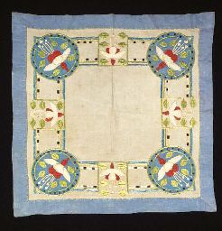 A SCOTTISH EMBROIDERED TABLECLOTH in the style of Ann Macbeth