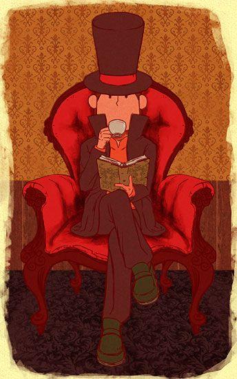 The Professor enjoying some tea and a book