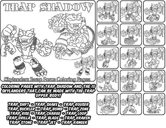 printable coloring page for kids with skylanders swap force trap