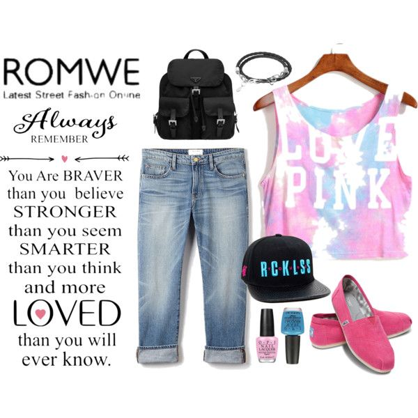 Rowme Pink Vest by redchally on Polyvore featuring Frame Denim, TOMS, Prada, Sho and OPI