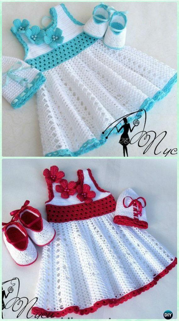 """Crochet Pusey Lace Dress Free Pattern - #Crochet; Girls Dress Free Patterns [ """"Crochet Girls Dress Free Patterns & Instructions: Crochet Spring Dress & Summer Dress for Girls, Babies, Flower Dress, Sweater Dress etc"""", """"girls dresses in Kid"""