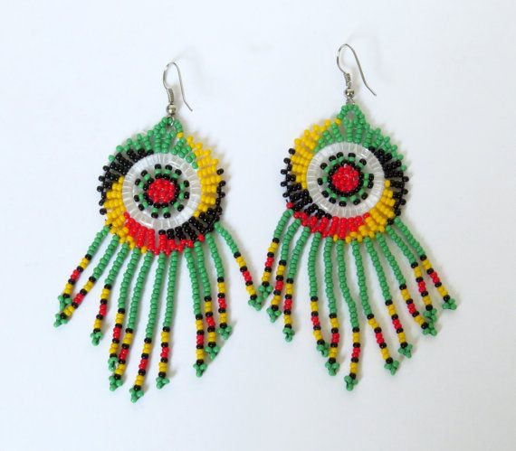 African Zulu beaded earrings  by GoneRuralSafariCurio on Etsy