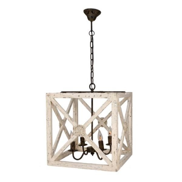 This geometric lantern is perfect for a kitchen table, covered porch or entry way. Love the mix of geometric lines and rustic, distressed painted finish. This wrought iron and wood light fixture has b