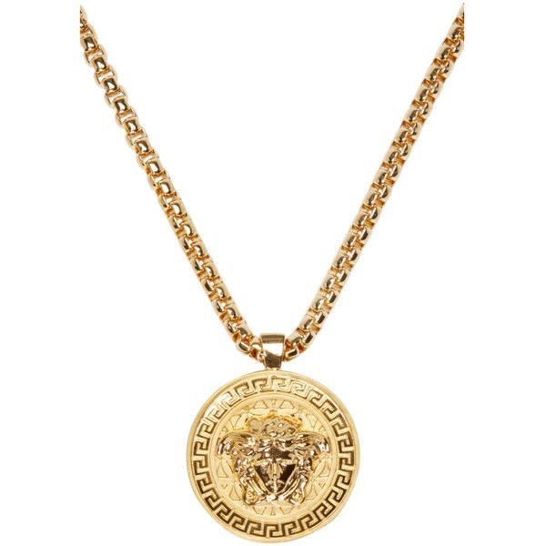 Versace Gold Medusa Medallion Necklace ($995) ❤ liked on Polyvore featuring men's fashion, men's jewelry, men's necklaces, mens gold pendant necklace, mens gold chain necklace, mens pendant necklaces, mens box chain necklace and versace mens necklace