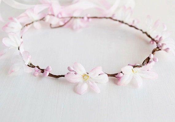 Spring Flower Crown Light Pink Bridal Crown Flower by HandyCraftTS