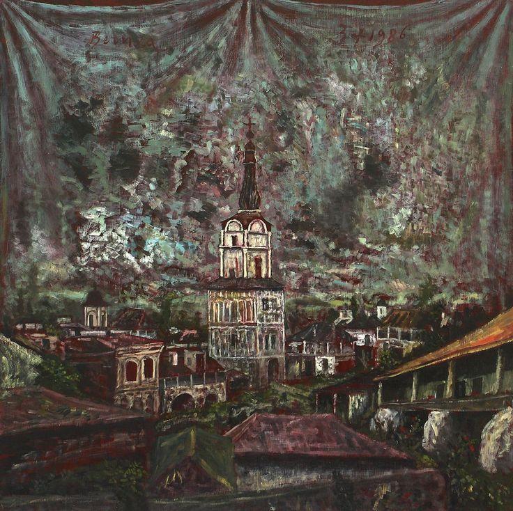 Horia Bernea - Vechi oraş românesc ulei pe pânză, 60 × 60 cm, semnat stânga sus, cu brun, Bernea, datat dreapta sus, cu brun, 3.06. 1986