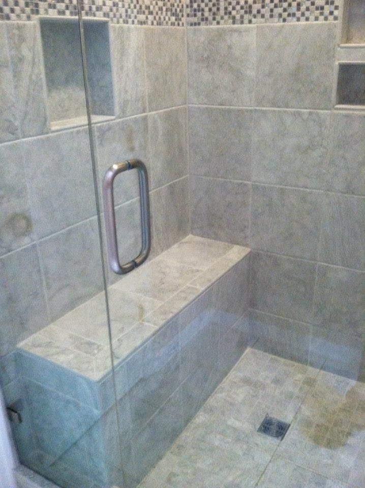 tile shower with bench bath remodel honey do handyman services csra llc pinterest bath