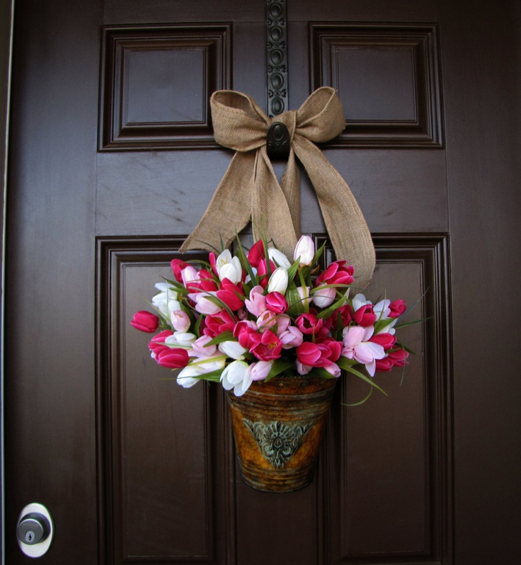 Front Door Bucket of Pink and White Tulips with Burlap Bow Year Round Wreath Spring Time Wreath & 17 best Door buckets images on Pinterest | Bucket Buckets and Blessings