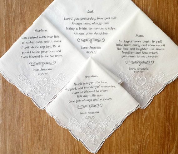 Set of 4 handkerchief. Personalized wedding handkerchief set