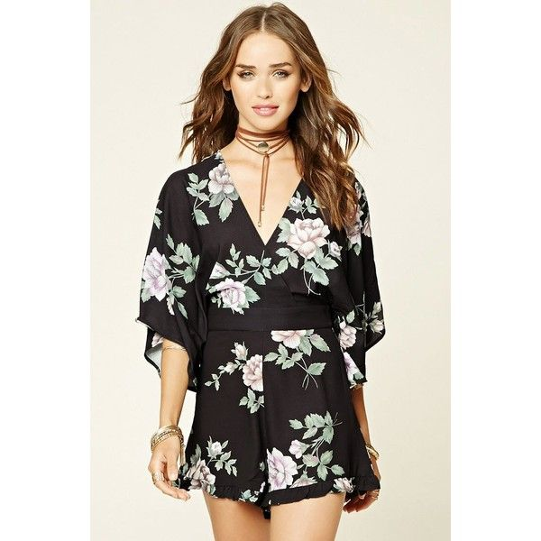 Forever21 Selfie Leslie Floral Romper ($58) ❤ liked on Polyvore featuring jumpsuits, rompers, navy, ruffle rompers, navy rompers, playsuit romper, floral print romper and long-sleeve romper