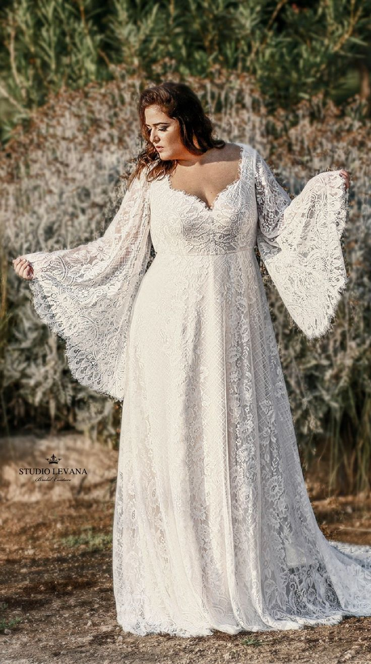 Plus size boho chic curvy wedding dress with bell sleeves