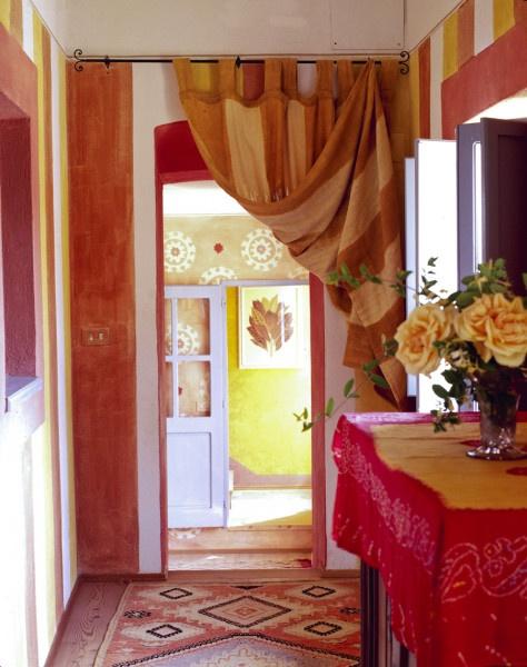 Curtain over door in hallwayWall Colors, The Doors, Wall Drapes, 1Stdibs, Hanging Curtains, Doorway Curtains Ideas, Curtains In Doorway, Bright Colors, Small Doorway