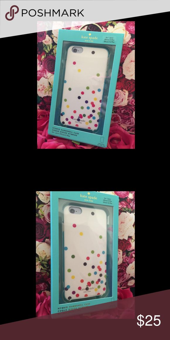 NIB Kate Spade iphone HARD CASE PLUS 6+ 6s+ Apple NIB Kate Spade iphone HARD CASE PLUS 6+ 6s+ Apple Confetti SIX PLUS Spotty Dots kate spade Accessories Phone Cases