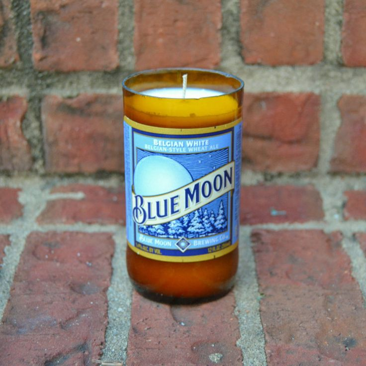 Blue Moon Beer Bottle Candle by RedClayCandles on Etsy