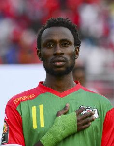 Jonathan Pitroipa of Burkina Faso during the 2015 Africa Cup of Nations football match between Equatorial Guinea and Burkina Faso at the Bata Stadium in Bata, Equatorial Guinea on 21 January 2015 ©Barry Aldworth/BackpagePix