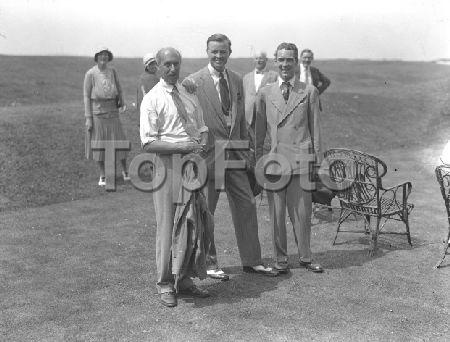 White's Club vs Princes' s Club golf match at Sandwich, Kent, England (c. 1931). Pictured: Major Bouch, Lord Blandford and Mr Buchanan.