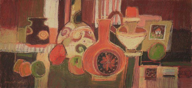 "Moira Huntly PPPS RWA RI RSMA ""Still Life with Decorative Pots"" Pastel  26x55cm  £1,250 www.mallgalleries.org.uk"